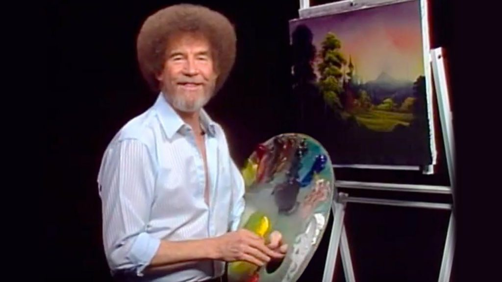 Bob Ross and one of his paintings