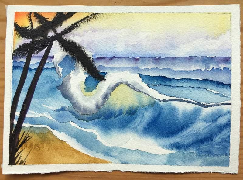'bob_ross_watercolors' version of 'Tropical Landscape'