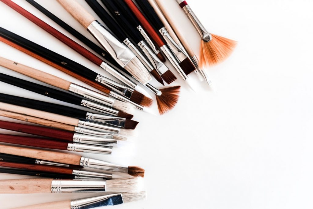 An assortment of painting brushes